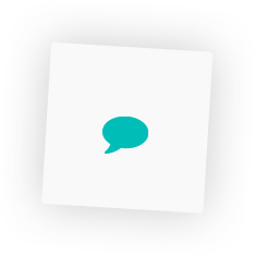 Chat icon, inside a box-shadowed graphic layout box element